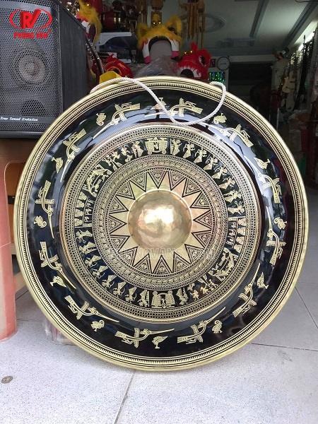 Chiêng đồng 60 cm mặt hoa văn trống đồng