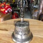 Chuông lắc bạc kim cang mật tông cao 16.5cm